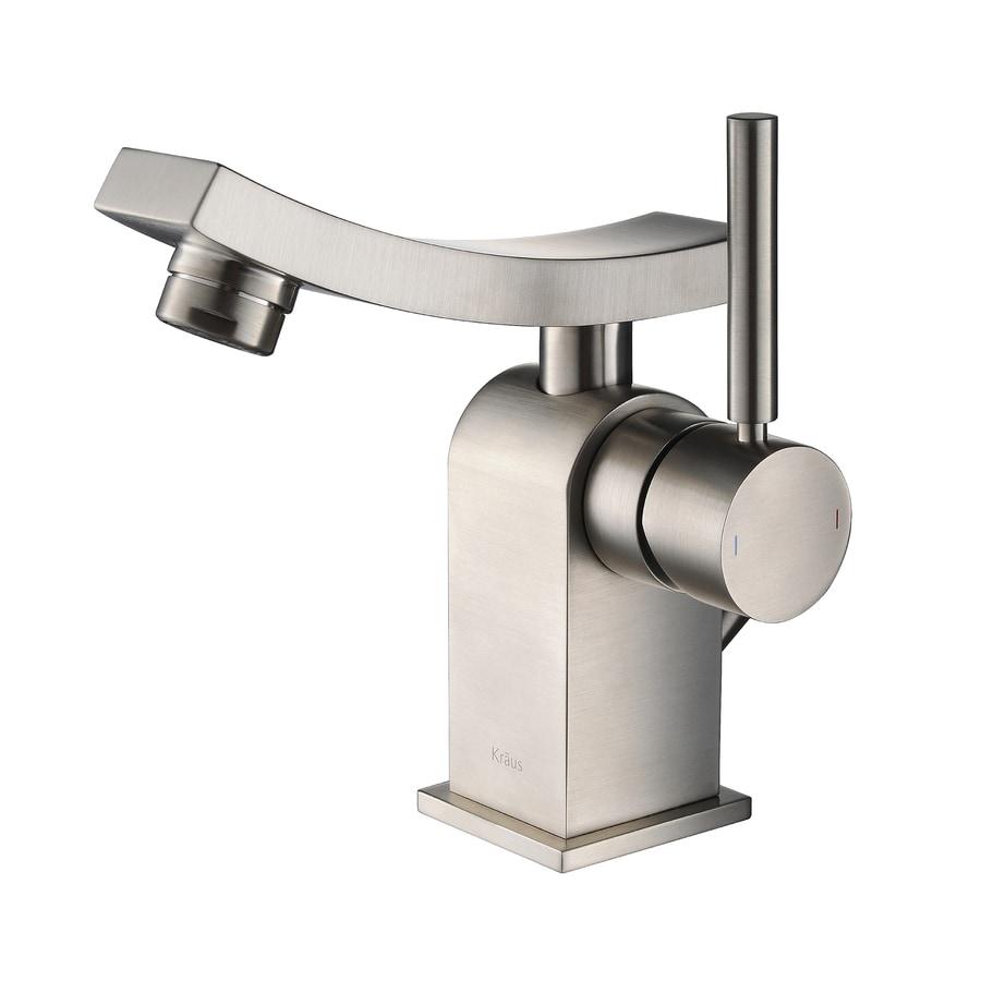 Kraus Unicus Brushed Nickel 1-Handle Single Hole WaterSense Bathroom Faucet