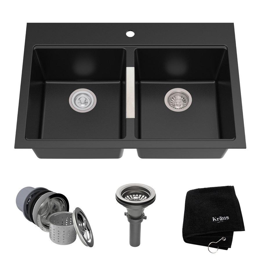 e8fab84721 Kraus Granite 33-in x 22-in Black Onyx Double-Basin Drop-in or Undermount  1-Hole Commercial/Residential Kitchen Sink
