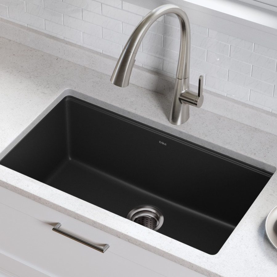 Kraus Granite 17-in x 31.5-in Black Onyx Single-Basin Granite Undermount Residential Kitchen Sink