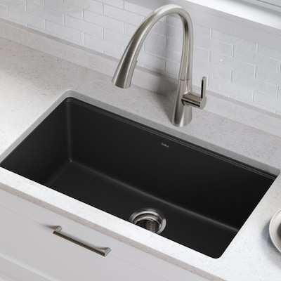 Granite 31.5-in x 17-in Black Onyx Single-Basin Undermount Residential  Kitchen Sink