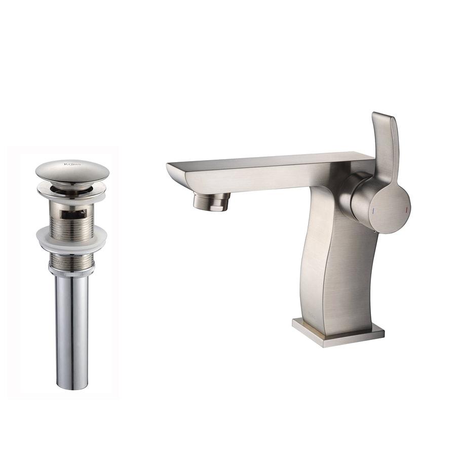 Kraus Sonus Brushed Nickel 1-Handle Single Hole WaterSense Bathroom Faucet (Drain Included)
