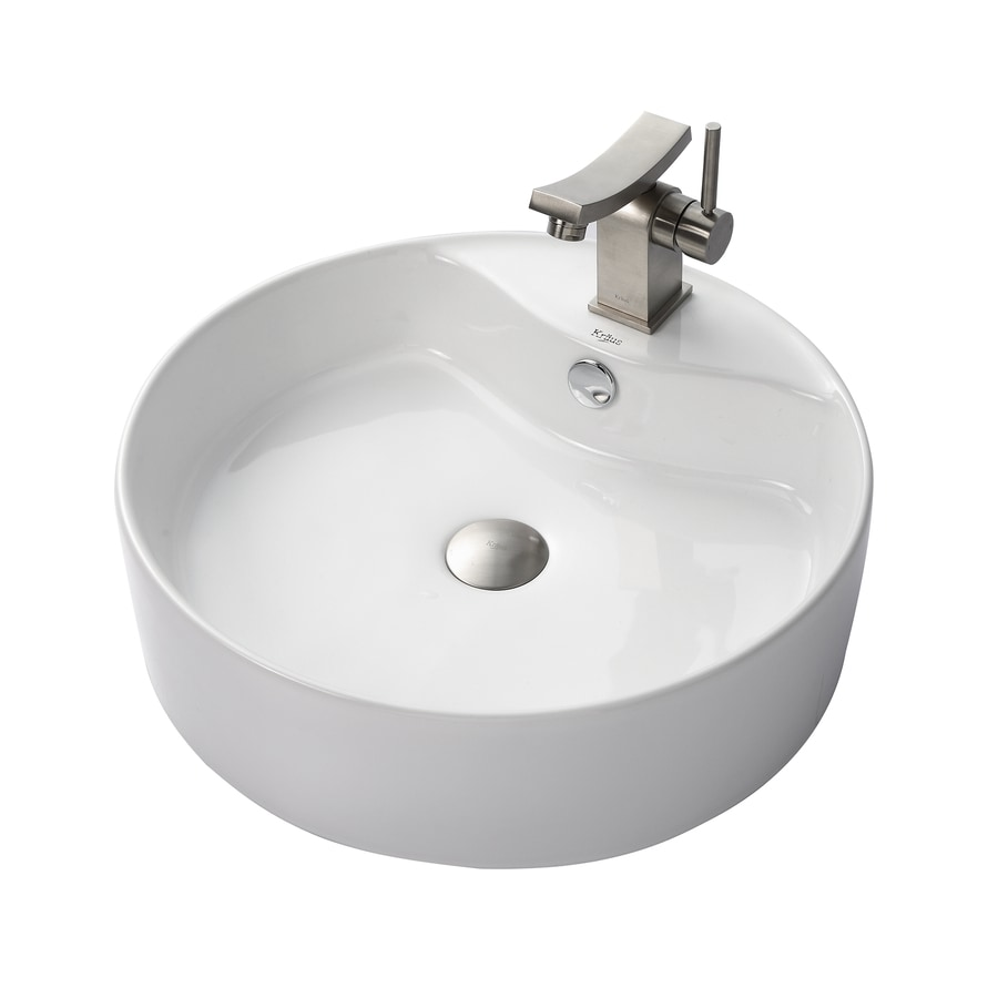 Kraus Unicus Brushed Nickel Vessel Round Bathroom Sink with Faucet with Overflow (Drain Included)