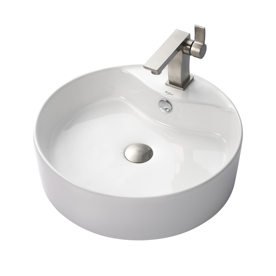brushed nickel bathroom sink shop kraus sonus brushed nickel vessel bathroom sink 17548