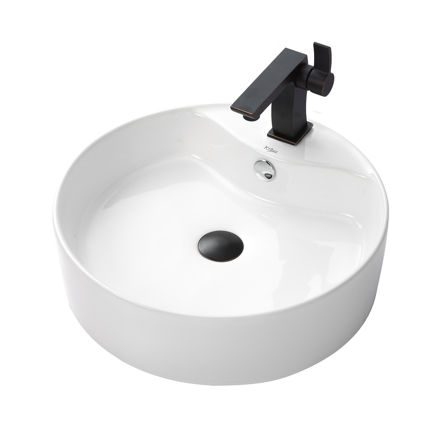 Kraus Sonus Oil Rubbed Bronze Vessel Round Bathroom Sink with Faucet with Overflow (Drain Included)