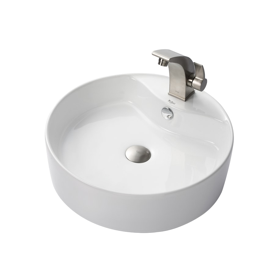 Kraus Illusio Brushed Nickel Vessel Round Bathroom Sink with Faucet with Overflow (Drain Included)