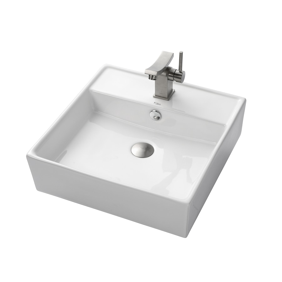 Kraus Unicus Brushed Nickel Vessel Square Bathroom Sink with Faucet with Overflow (Drain Included)