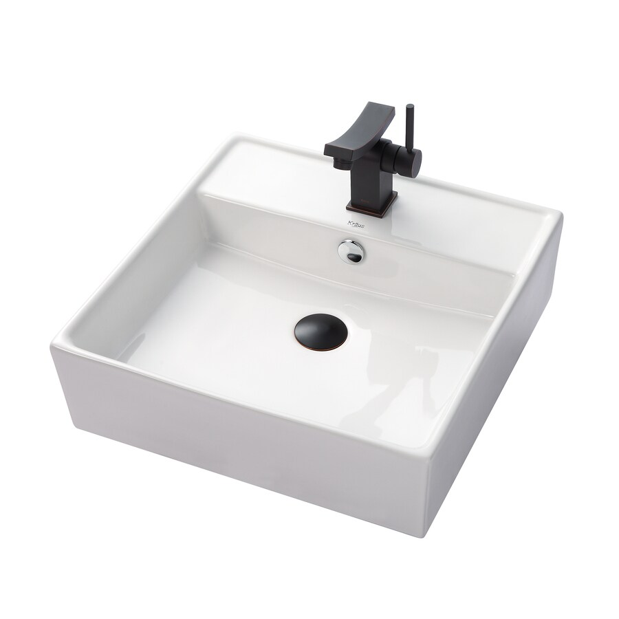 Kraus Unicus Oil Rubbed Bronze Vessel Square Bathroom Sink with Faucet with Overflow (Drain Included)