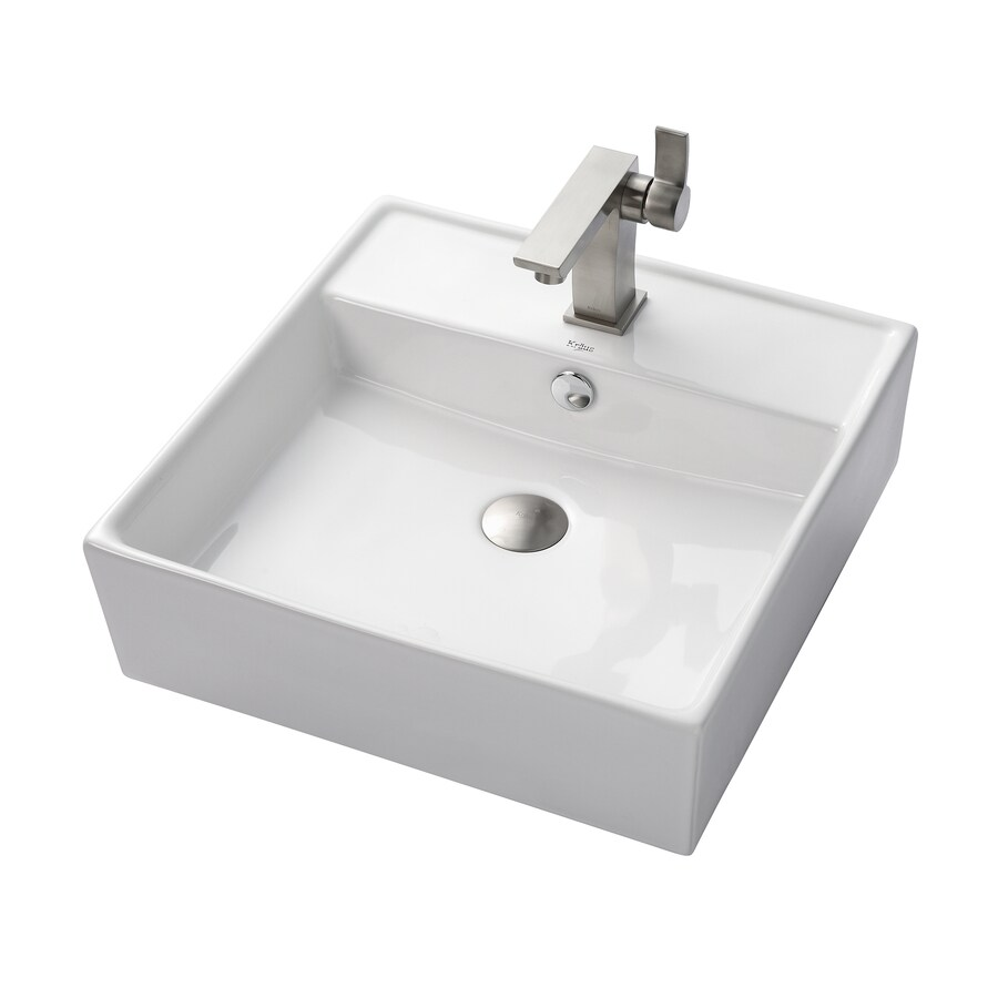 Kraus Sonus Brushed Nickel Vessel Square Bathroom Sink with Faucet with Overflow (Drain Included)
