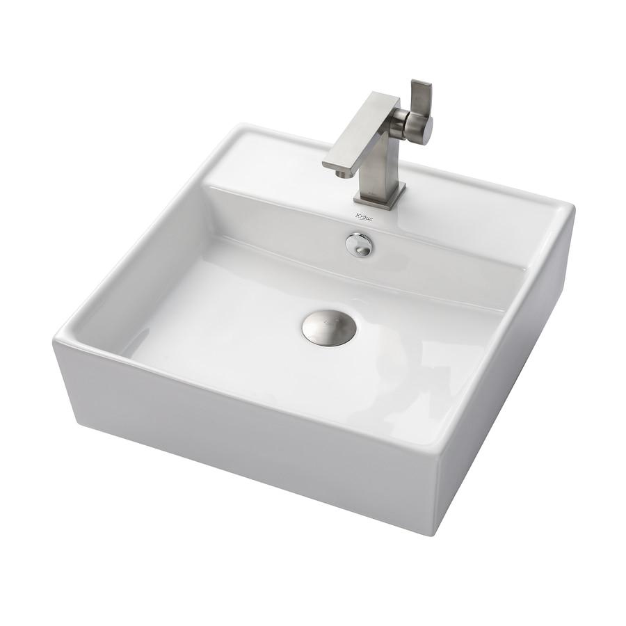 Kraus Sonus Brushed Nickel Vessel Square Bathroom Sink