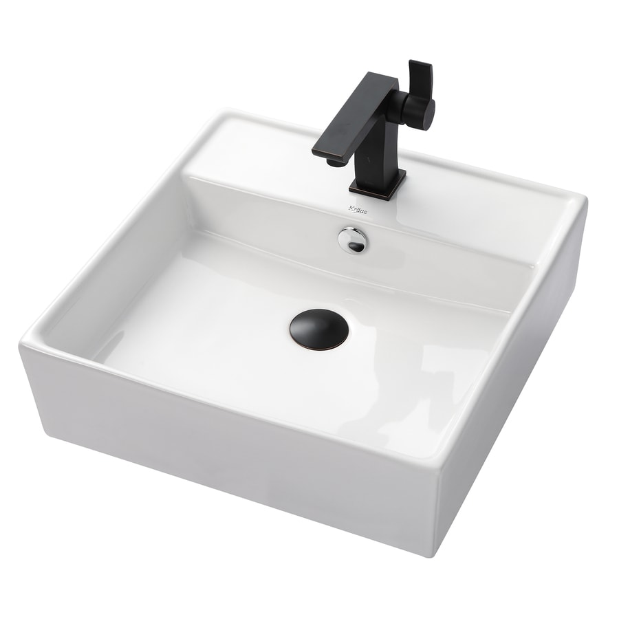 Kraus Sonus Oil Rubbed Bronze Vessel Square Bathroom Sink with Faucet with Overflow (Drain Included)