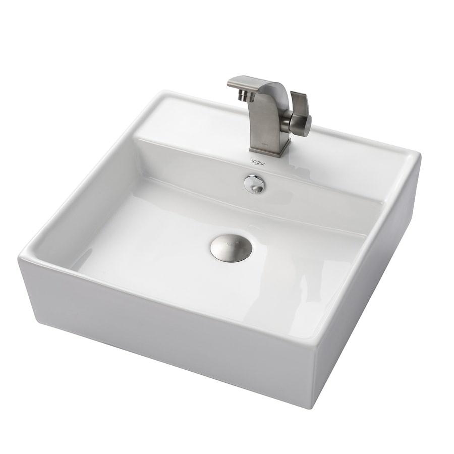Kraus Illusio Brushed Nickel Vessel Square Bathroom Sink with Faucet with Overflow (Drain Included)