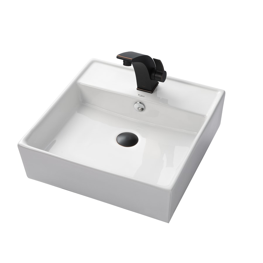 Kraus Illusio Oil Rubbed Bronze Vessel Square Bathroom Sink with Faucet with Overflow (Drain Included)