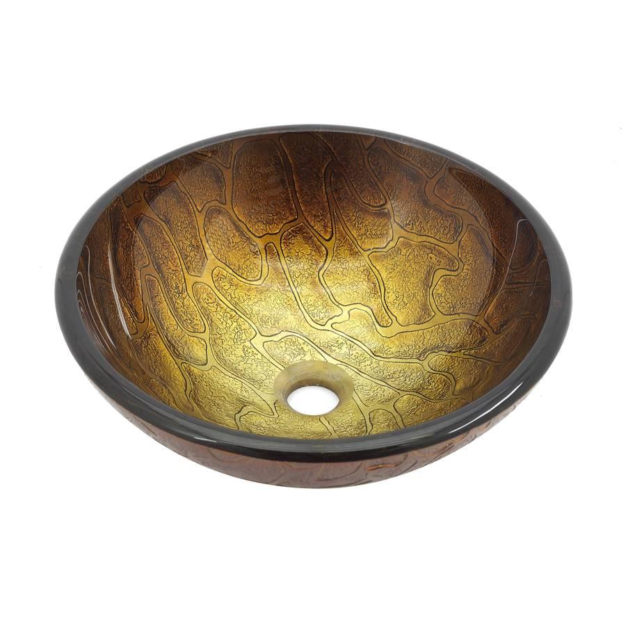 Kraus Copper Multicolor Glass Vessel Round Bathroom Sink