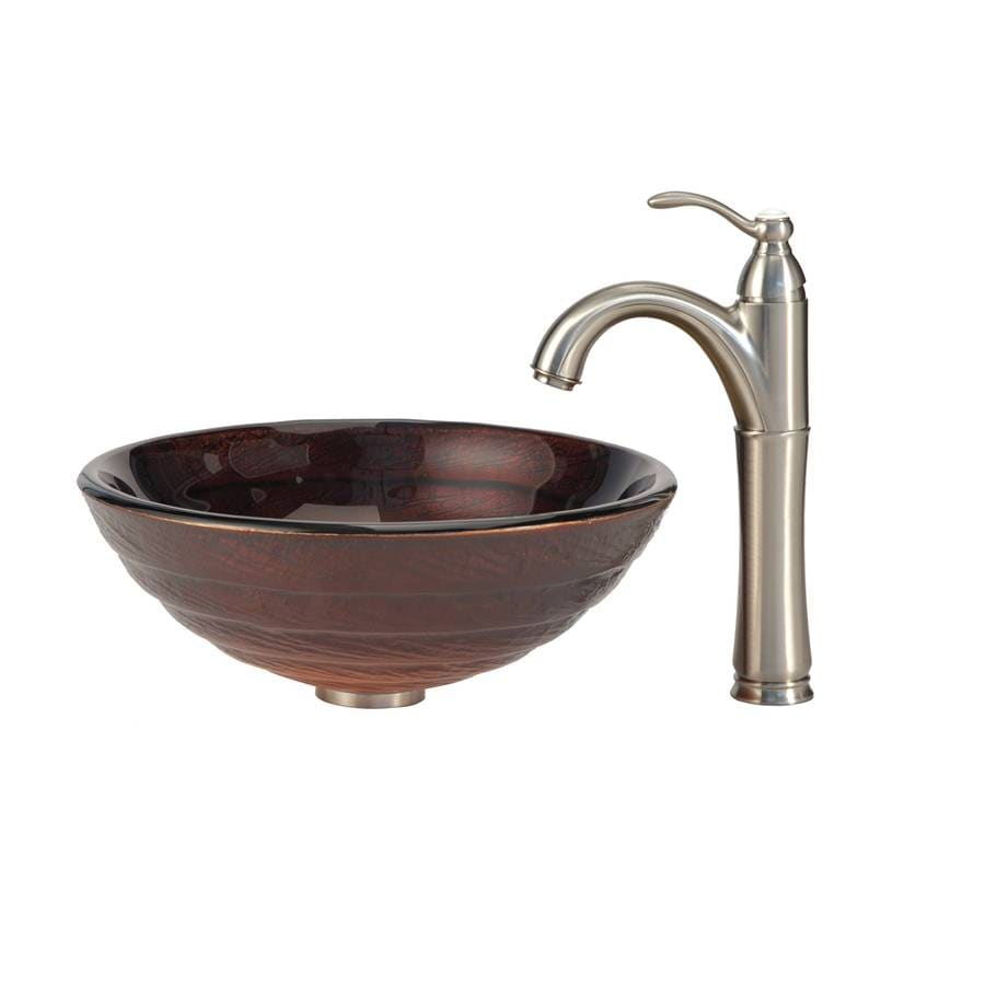Kraus Copper Multicolor Glass Vessel Round Bathroom Sink with Faucet (Drain Included)