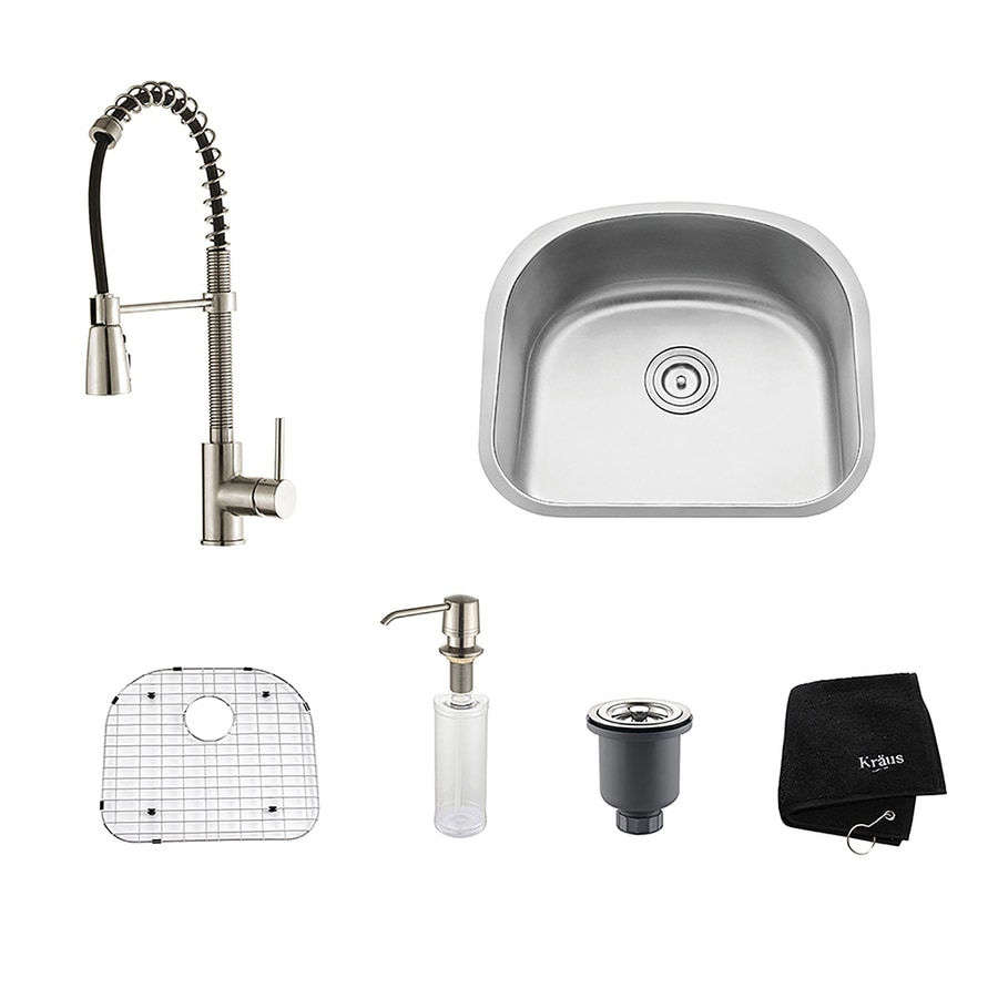 Kraus Kitchen Combo 21-in x 23.06-in Single-Basin Stainless Steel Undermount Residential Kitchen Sink All-In-One Kit
