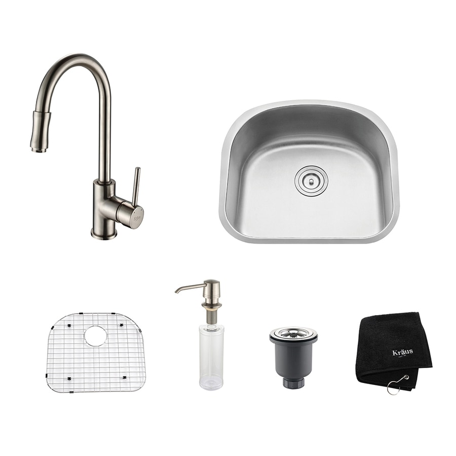 Kraus Kitchen Combo 21-in x 23.06-in Satin Nickel Single-Basin Undermount Residential Kitchen Sink All-In-One Kit