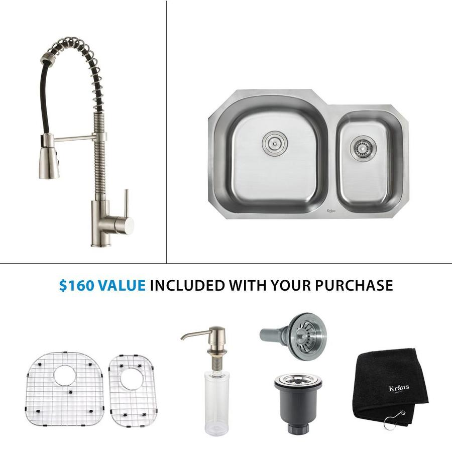 Kraus Kitchen Combo 20.5-in x 31.5-in Double-Basin Stainless Steel Undermount Residential Kitchen Sink All-In-One Kit