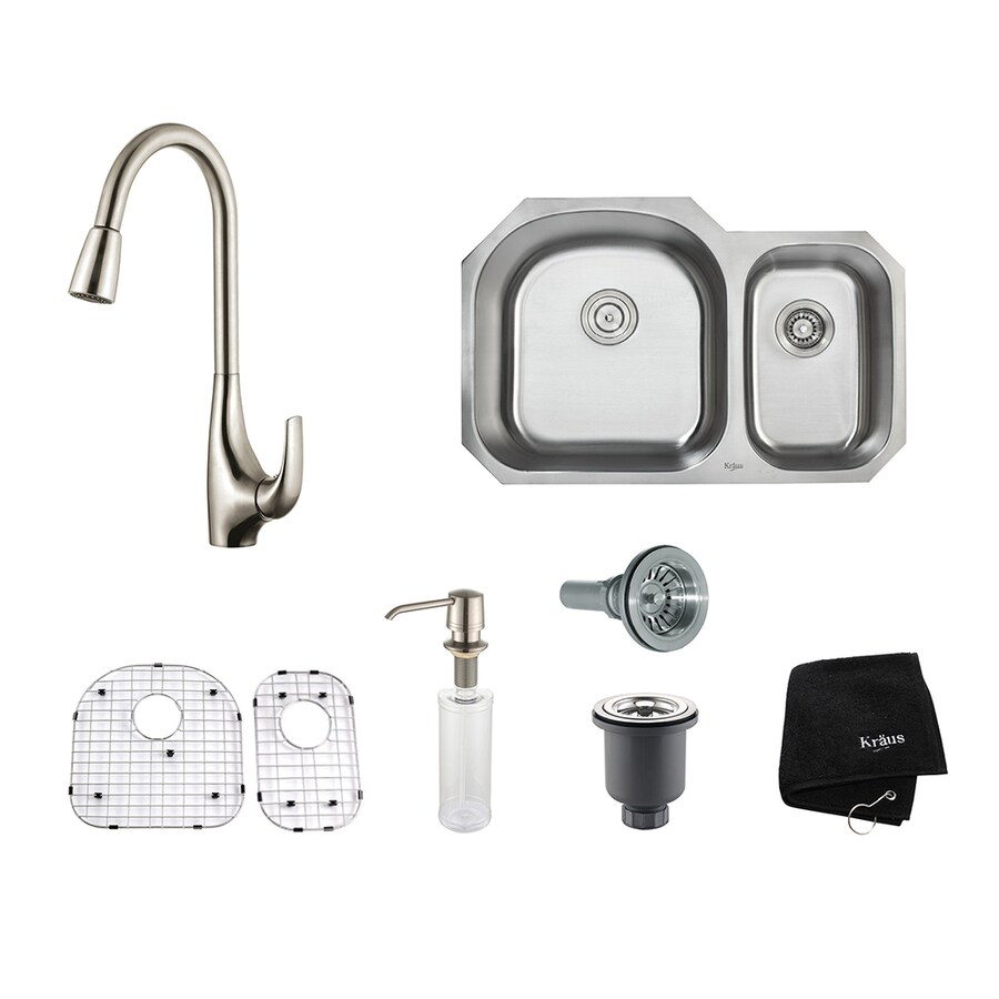 Kraus Kitchen Combo 20.5-in x 31.5-in Stainless Steel Double-Basin Undermount Residential Kitchen Sink All-In-One Kit