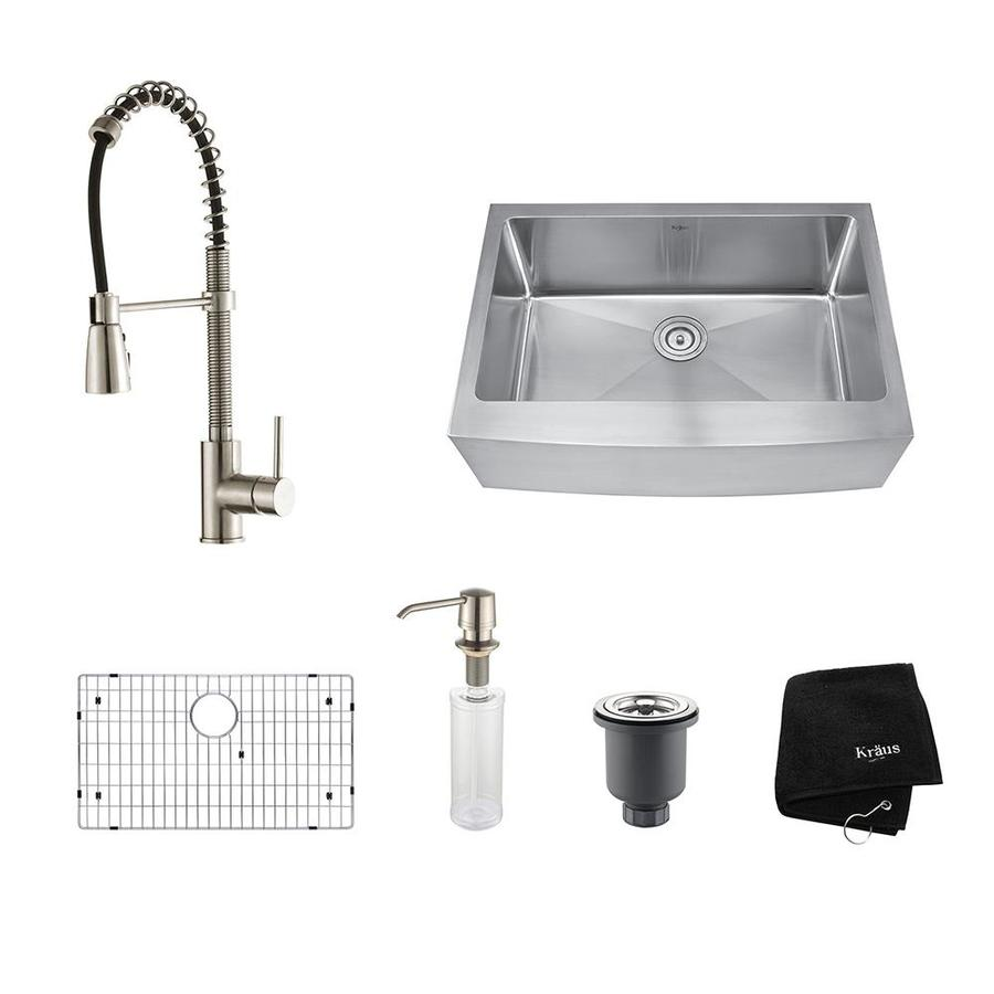 Kraus Kitchen Combo 20-in x 29.75-in Stainless Steel Single-Basin Apron Front/Farmhouse Residential Kitchen Sink All-In-One Kit