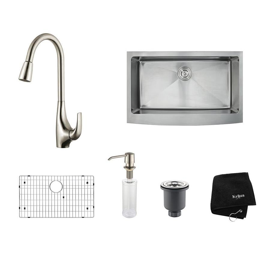 Kraus Kitchen Combo 20.75-in x 32.9-in Single-Basin Stainless Steel Apron Front/Farmhouse Residential Kitchen Sink All-In-One Kit