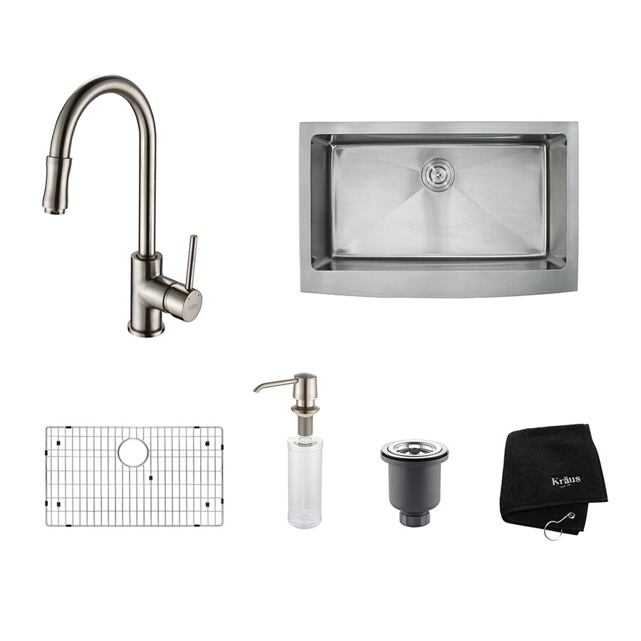 Kraus Kitchen Combo 20.75-in x 32.9-in Satin Nickel Single-Basin Stainless Steel Apron Front/Farmhouse Residential Kitchen Sink All-In-One Kit