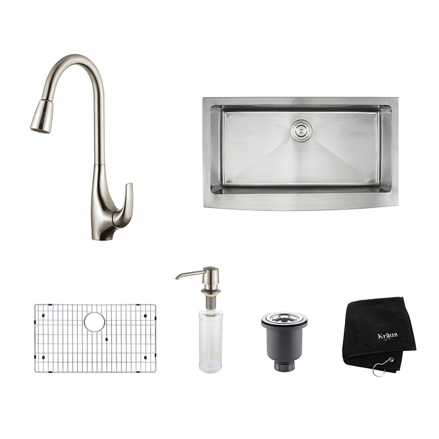 Kraus Kitchen Combo 20.75-in x 35.9-in Single-Basin Stainless Steel Apron Front/Farmhouse Residential Kitchen Sink All-In-One Kit