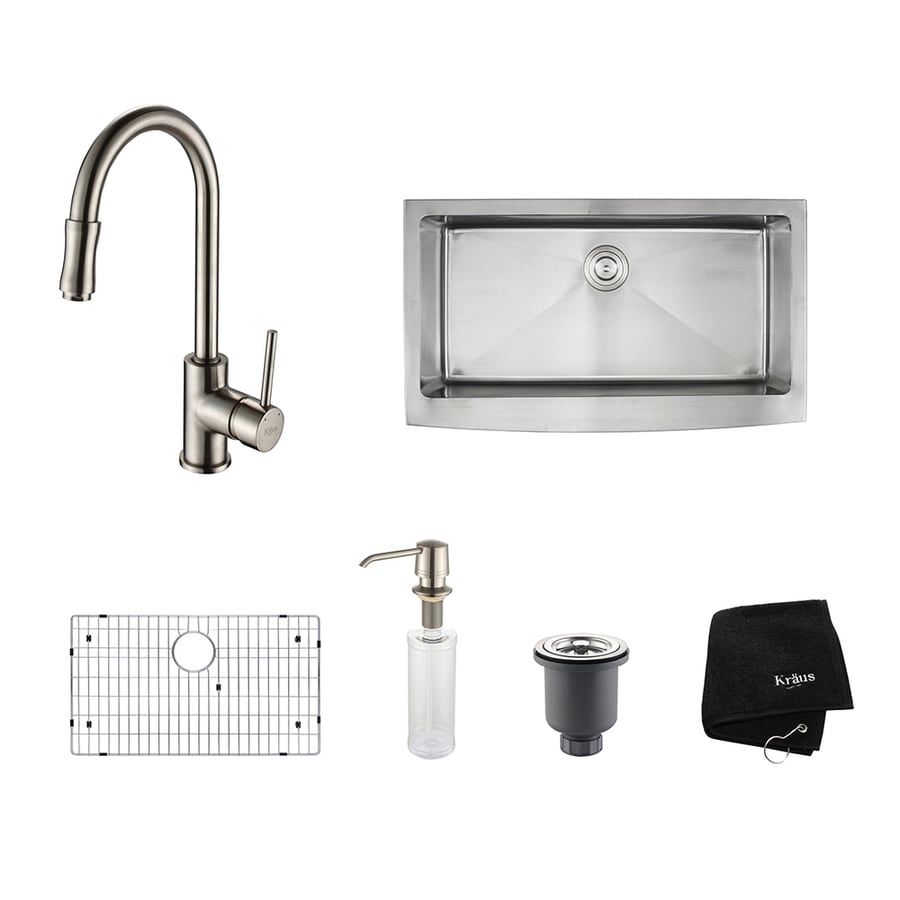 Kraus Kitchen Combo 20.75-in x 35.9-in Satin Nickel Single-Basin Apron Front/Farmhouse Residential Kitchen Sink All-In-One Kit