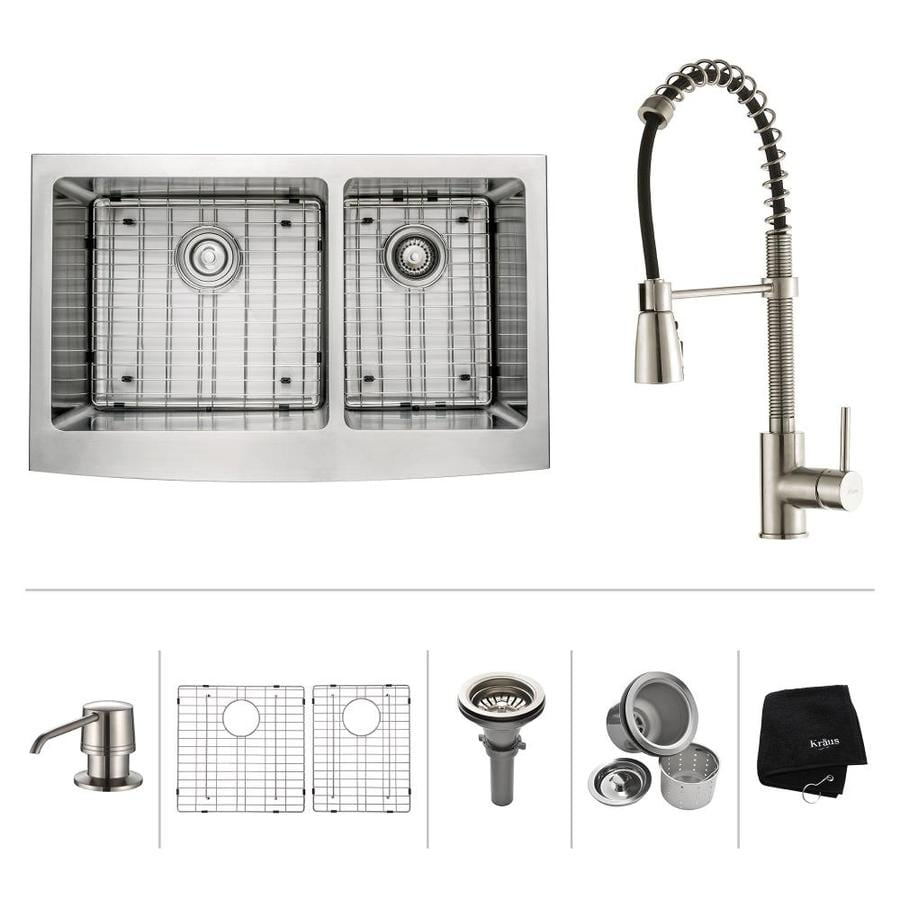 Kraus Kitchen Combo 20.75-in x 32.9-in Double-Basin Stainless Steel Apron Front/Farmhouse Residential Kitchen Sink All-In-One Kit