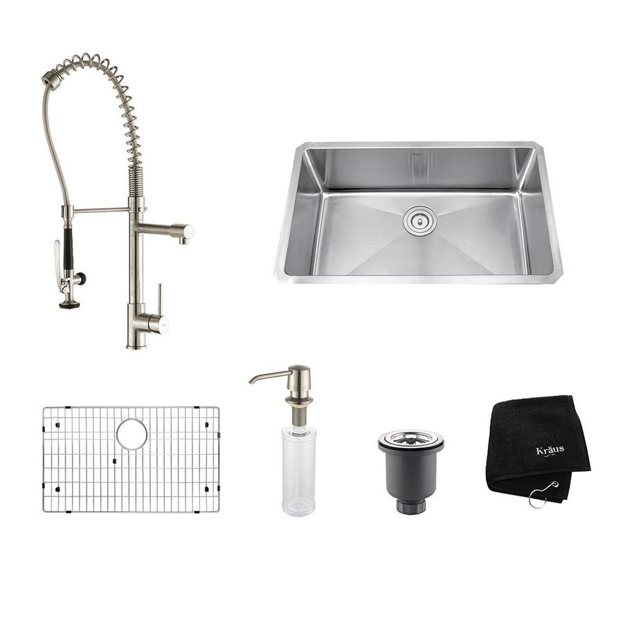 Kraus Kitchen Combo 18-in x 30-in Stainless Steel Single-Basin Undermount Residential Kitchen Sink All-In-One Kit