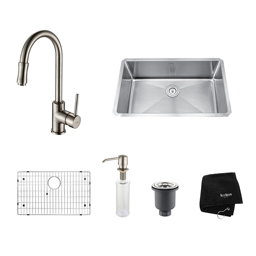 Kraus Kitchen Combo 18-in x 30-in Satin Nickel Single-Basin Stainless Steel Undermount Residential Kitchen Sink All-In-One Kit