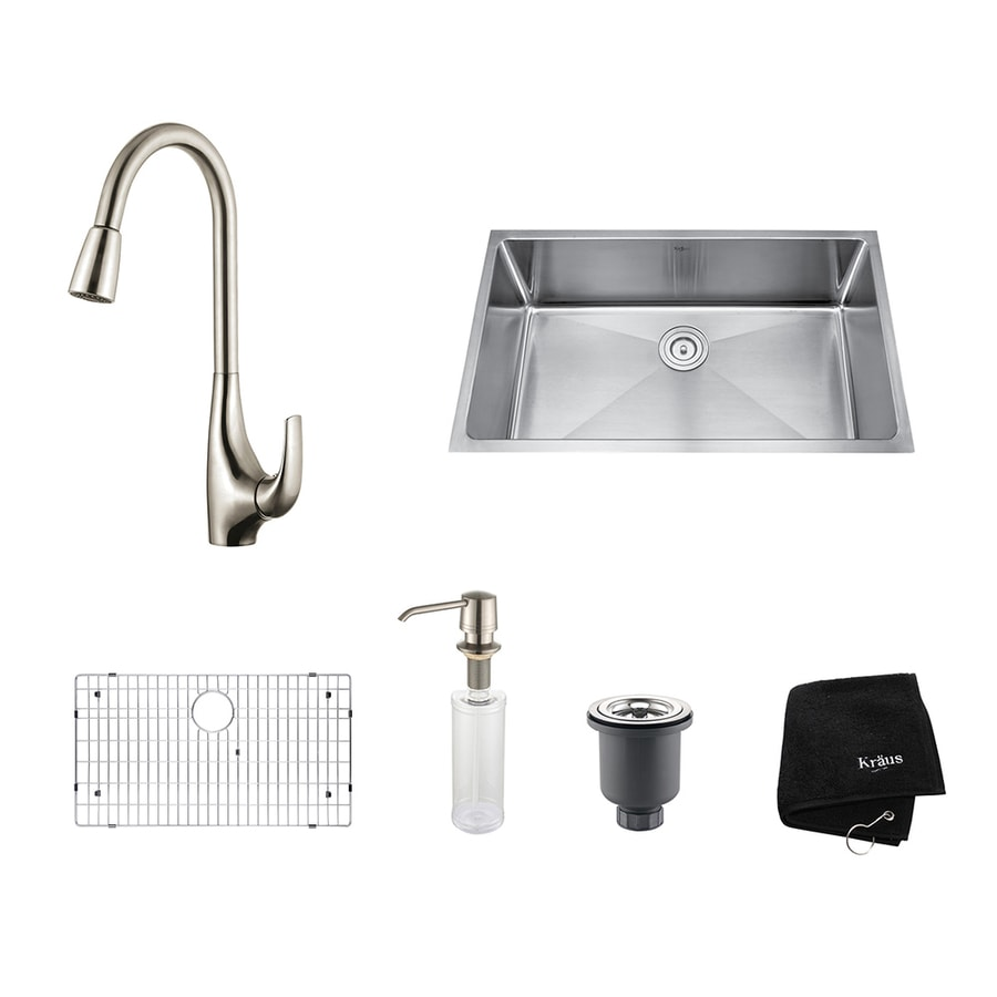Kraus Kitchen Combo 19-in x 32-in Stainless Steel Single-Basin Undermount Residential Kitchen Sink All-In-One Kit