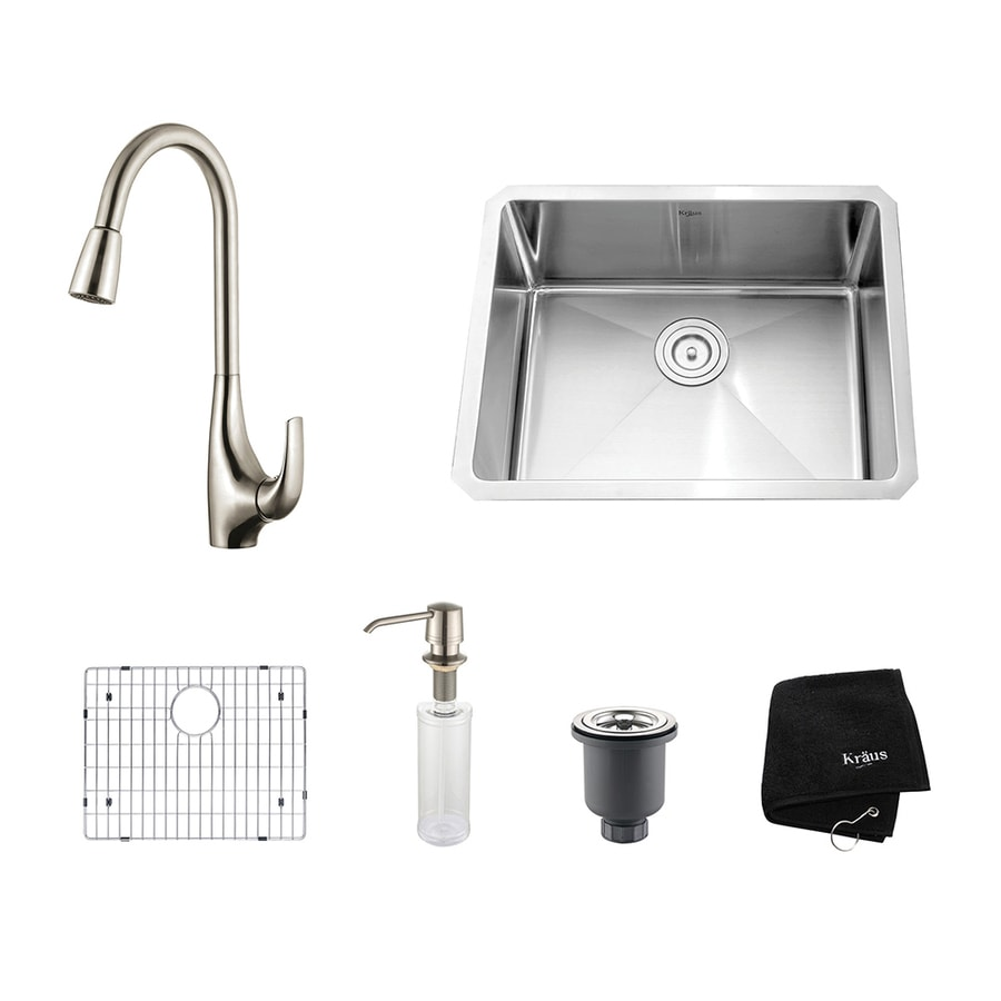Kraus Kitchen Combo 18-in x 23-in Single-Basin Stainless Steel Undermount Residential Kitchen Sink All-In-One Kit