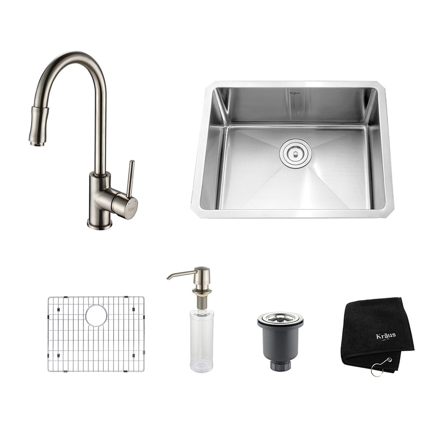 Kraus Kitchen Combo 18-in x 23-in Satin Nickel Single-Basin Stainless Steel Undermount Residential Kitchen Sink All-In-One Kit
