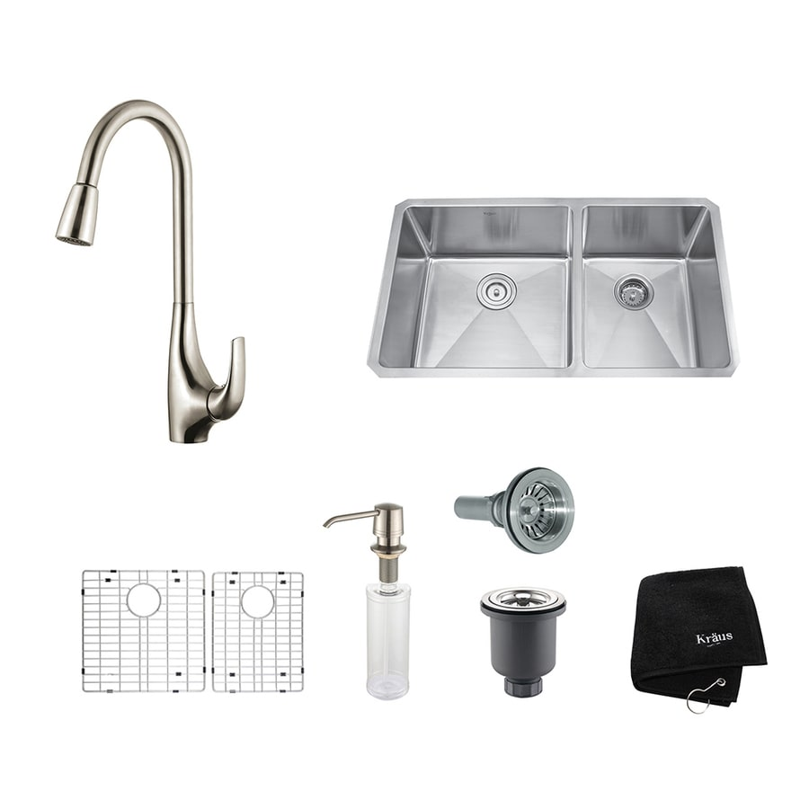 Kraus Kitchen Combo 19-in x 32.75-in Stainless Steel Double-Basin Undermount Residential Kitchen Sink All-In-One Kit