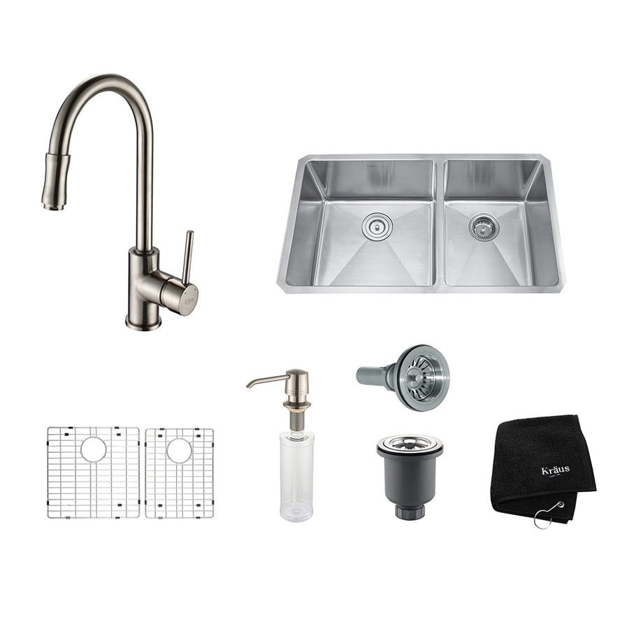 Kraus Kitchen Combo 19-in x 32.75-in Satin Nickel Double-Basin Stainless Steel Undermount Residential Kitchen Sink All-In-One Kit