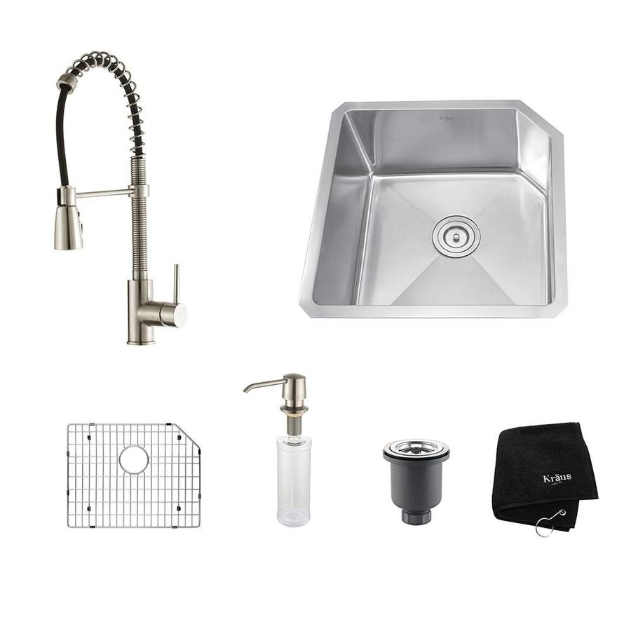 Kraus Kitchen Combo 18.75-in x 23-in Stainless Steel Single-Basin Undermount Residential Kitchen Sink All-In-One Kit