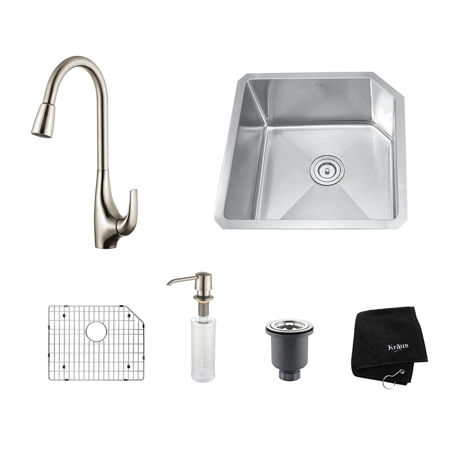 Kraus Kitchen Combo 18.75-in x 23-in Stainless Steel Single-Basin-Basin Stainless Steel Undermount (Customizable)-Hole Residential Kitchen Sink All-In-One Kit