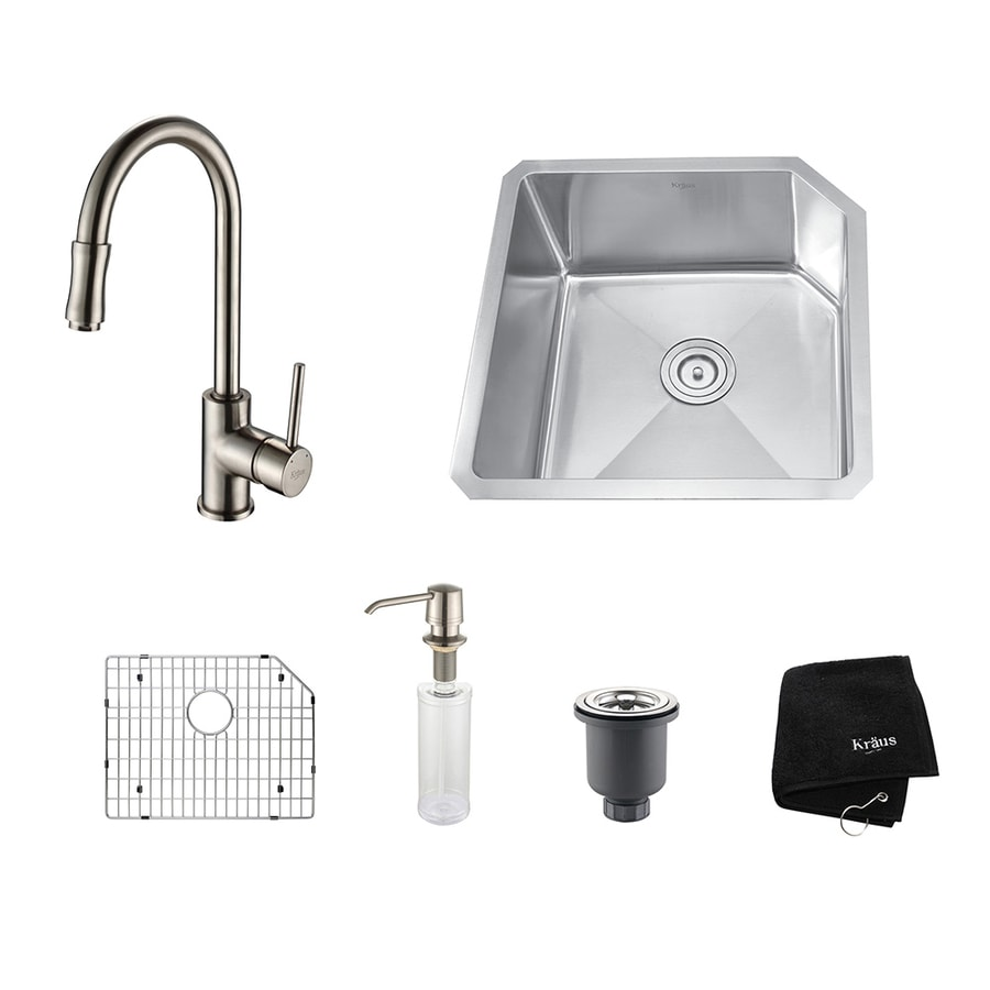 Kraus Kitchen Combo 18.75-in x 23-in Satin Nickel Single-Basin Undermount Residential Kitchen Sink All-In-One Kit
