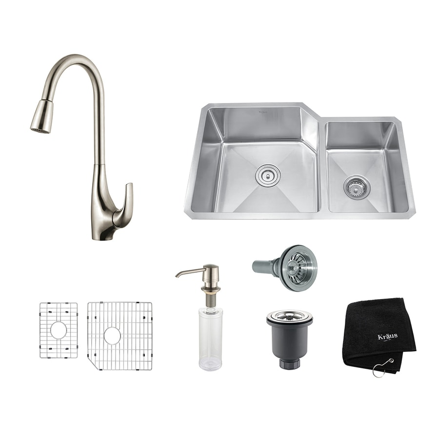 Kraus Kitchen Combo 20-in x 32-in Double-Basin Stainless Steel Undermount Residential Kitchen Sink All-In-One Kit