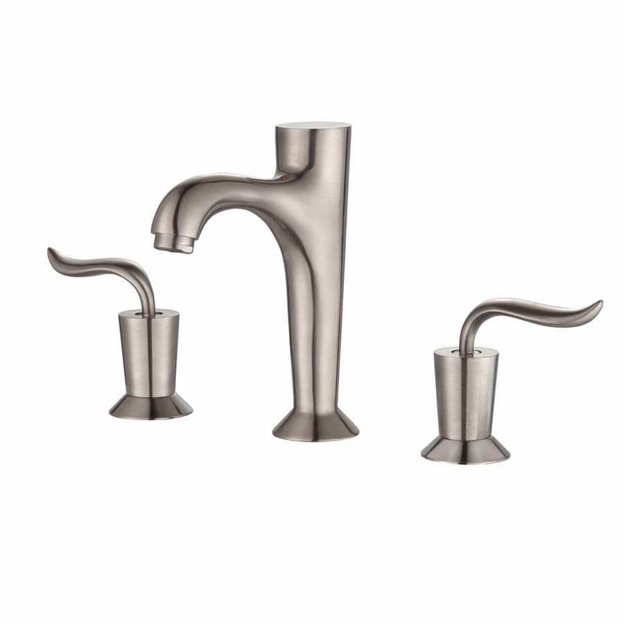 Kraus Premier Brushed Nickel 2-Handle Widespread WaterSense Bathroom Faucet (Drain Included)