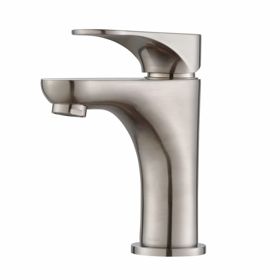 Kraus Premier Brushed Nickel 1-Handle Single Hole WaterSense Bathroom Faucet (Drain Included)