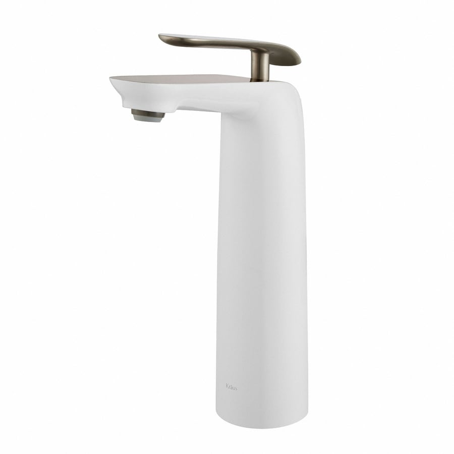Kraus Premier Brushed Nickel-White 1-Handle Vessel WaterSense Bathroom Faucet