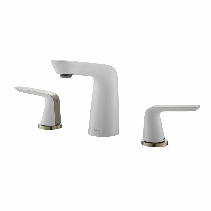 Kraus Seda Brushed Nickel-White 2-Handle 4-in Centerset WaterSense Bathroom Faucet (Drain Included)