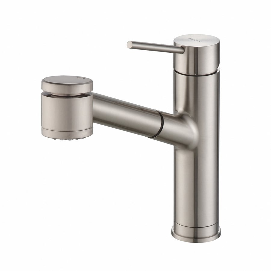 Shop Kraus Quick Install Stainless Steel 1 Handle Pull Out Kitchen Faucet At