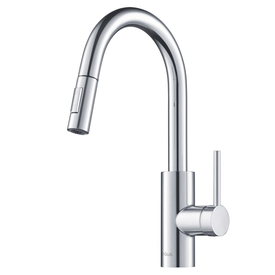 Shop Kraus Quick Install Chrome 1 Handle Pull Down Kitchen Faucet At