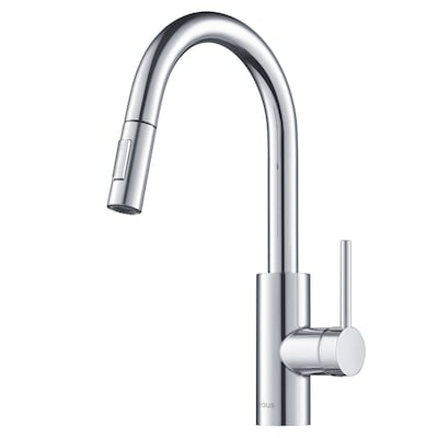 Oletto Chrome 1-Handle Deck Mount Pull-down Residential Kitchen Faucet