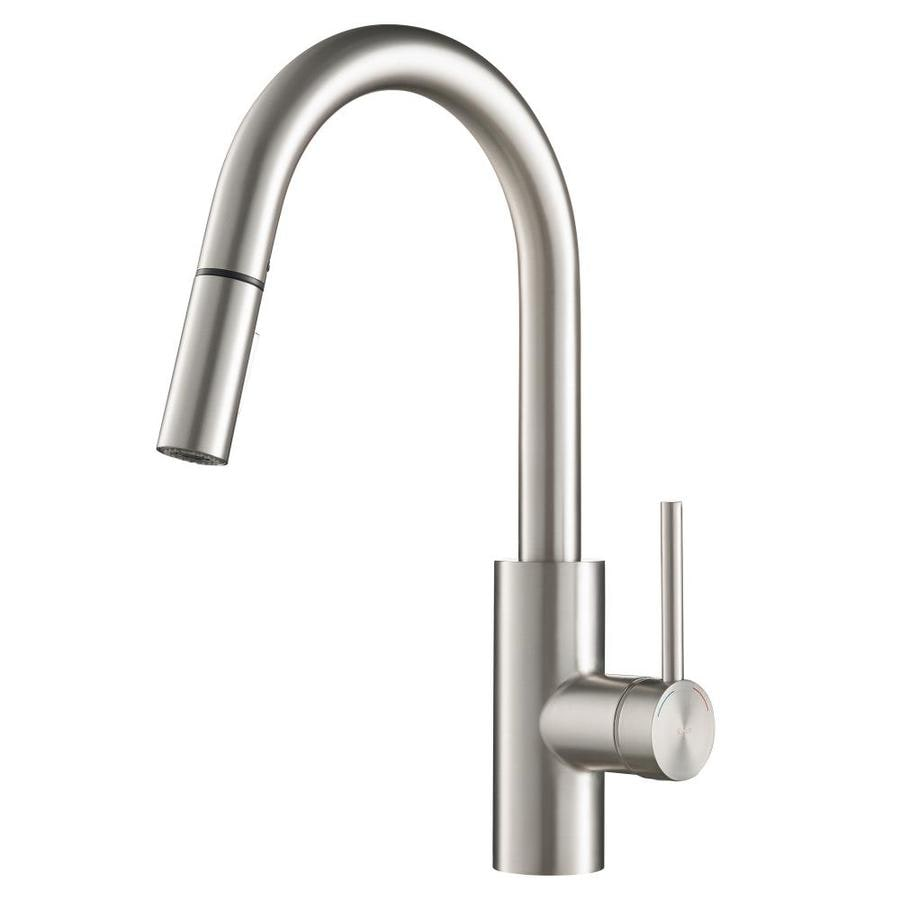 kraus kitchen faucets reviews shop kraus mateo stainless steel 1 handle pull down sink counter mount traditional kitchen 7120