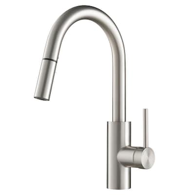 Quick-Install Kitchen Faucet Stainless Steel 1-Handle Deck Mount Pull-down  Residential Kitchen Faucet