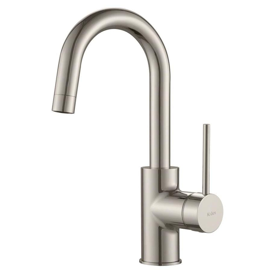 Shop Kraus Quick Install Stainless Steel 1 Handle Low Arc Kitchen Faucet At