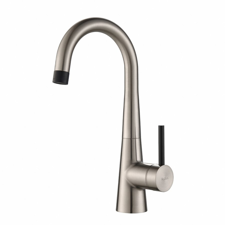 Shop Kraus QuickInstall Kitchen Faucet Stainless Steel Handle - Low arc kitchen faucet